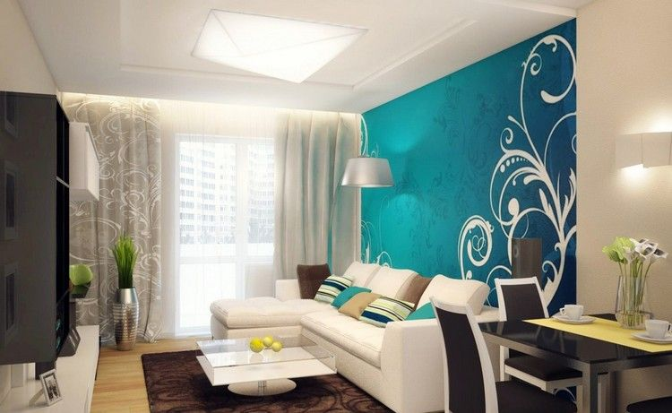 wohnzimmer turkis streichen
