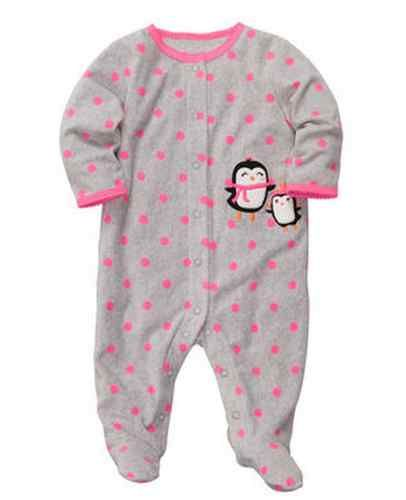 4b82c3a54 Carters Baby Girl Clothes Sleepwear Pajama Gray Pink Penguin 3 6 9 ...