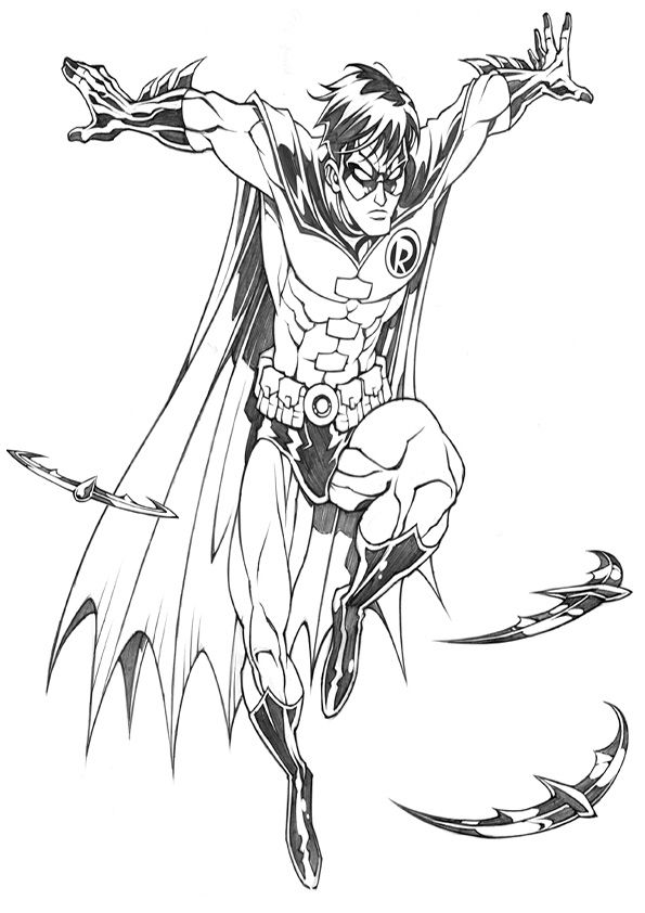 Robin Coloring Pages 3 Jpg 595 842 Heroes United Gotham Villains Comic Art Community