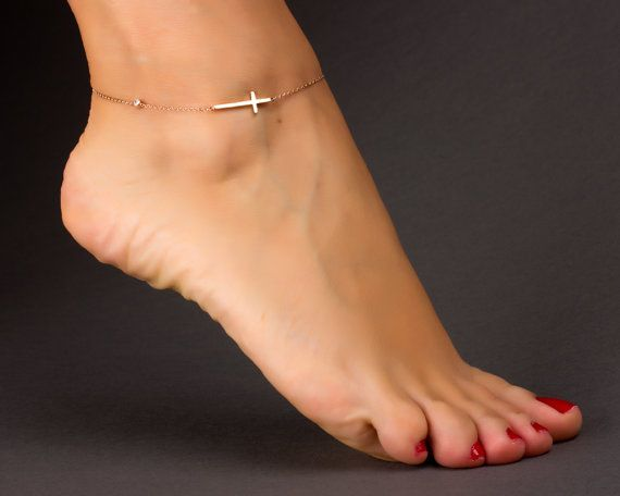 Cross Anklet Rose Gold Anklet Sideways Cross Beach Anklet