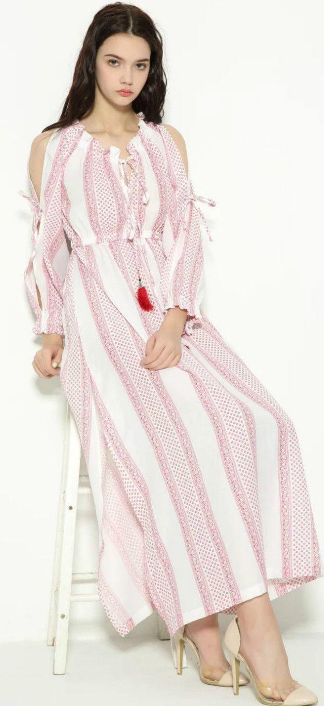 Boho off the shoulder long sleeve maxi dress s t r i p e y