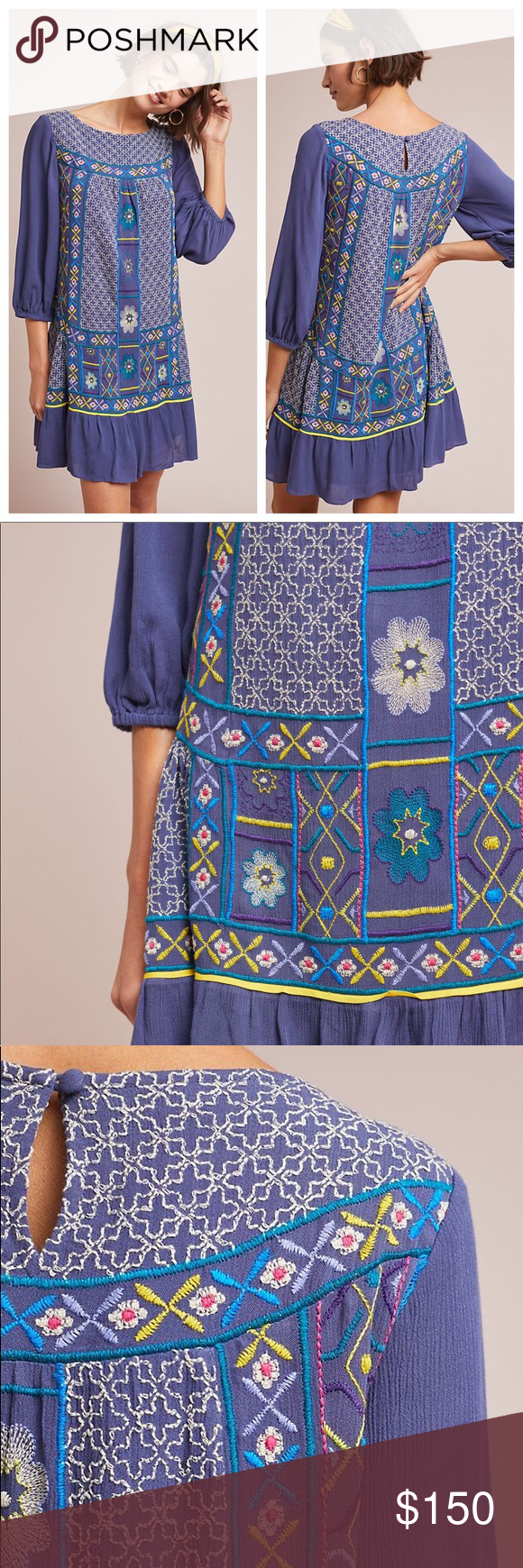f0eb6de050 Anthropologie Patna Embroidered Tunic Dress Anthropologie Patna Embroidered  Tunic Dress by Akemi Kin Rayon Embroidered detail