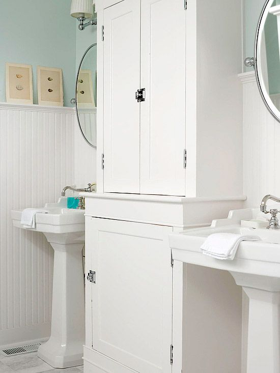 Double Hutch  Reclaim Storage Lost In A Change To Stylish Pedestal Sinks By  Adding A