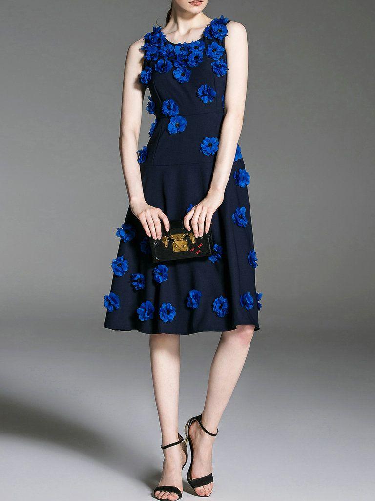 #AdoreWe #StyleWe JIANSHAN Elegant Sleeveless A-line Crew Neck Appliqued Midi Dress - AdoreWe.com