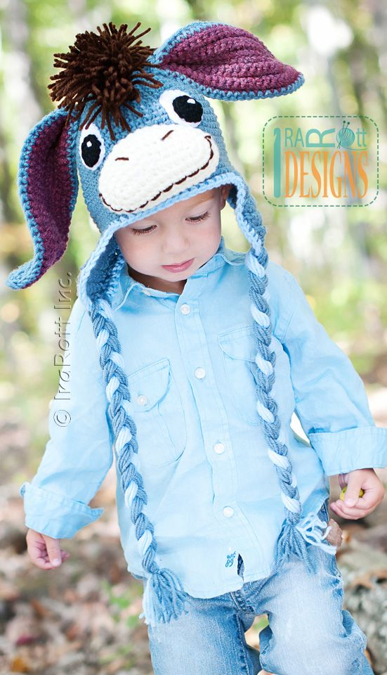 Funky Donkey Hat with Tail and Mohawk PDF Crochet Pattern | Gorros ...