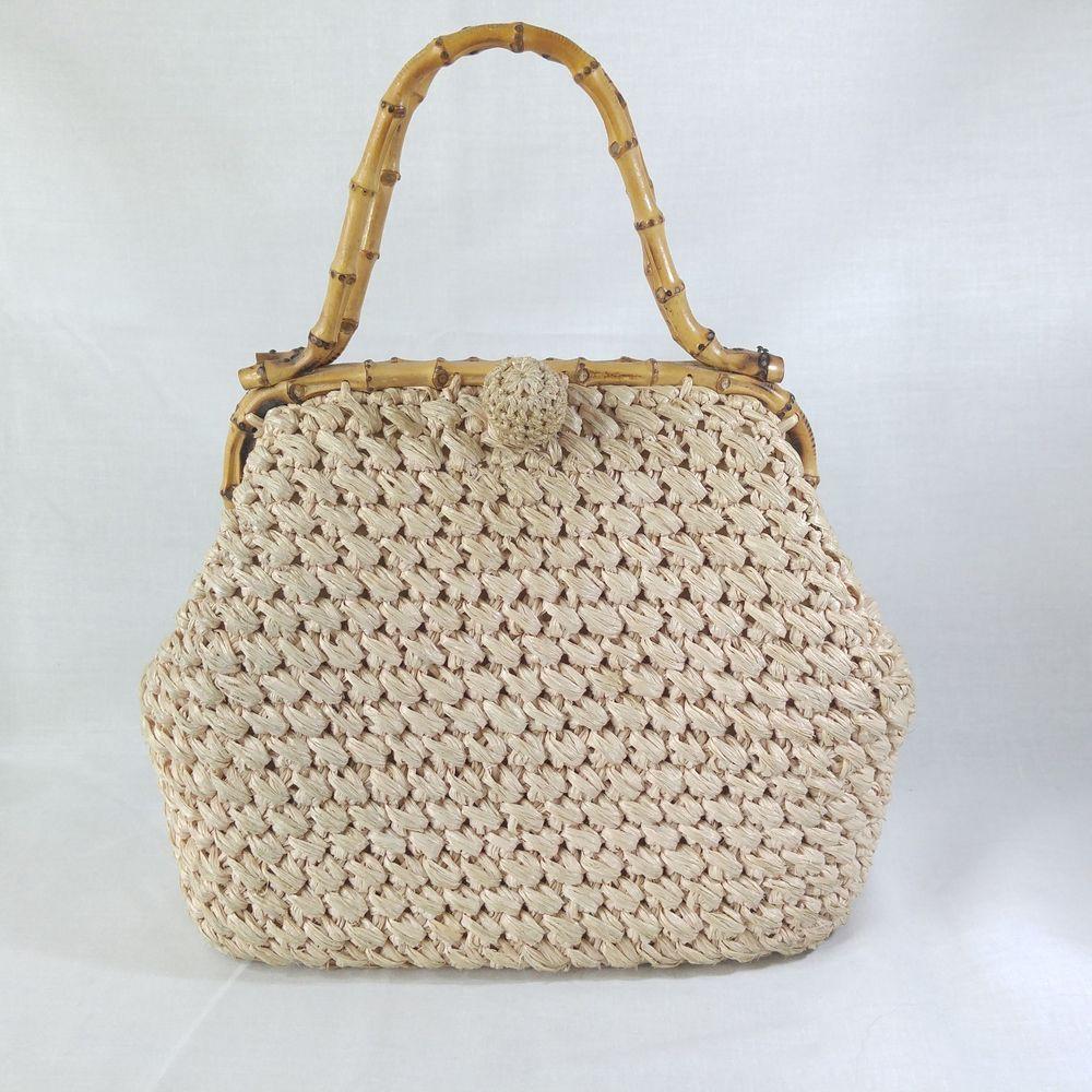 4d9d118835 Vtg Woven Straw Handbag Bamboo Handle Frame Purse Made Japan Beach Vacation  Bag #Ritter #Satchel #Casual