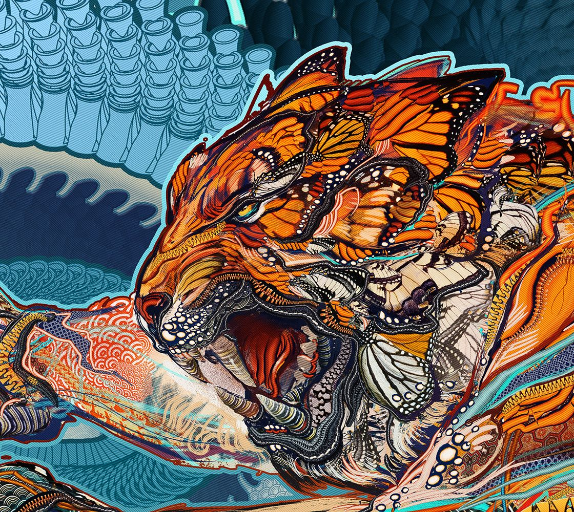 Andrew Jones Tiger Swallow Tail Print 14x25 Inches Tiger Art