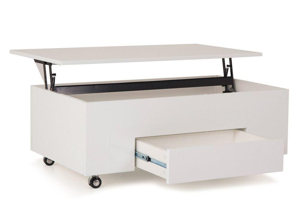 Table basse rectangulaire en bois plateau relevable l 110 Table basse relevable en bois