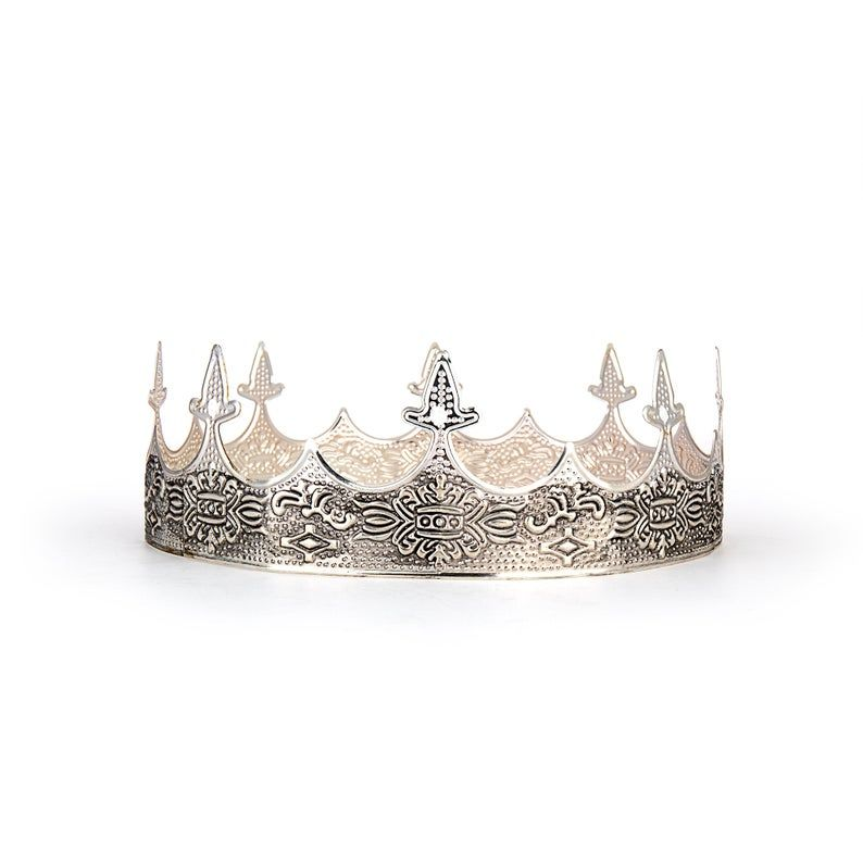 Medieval King S Crown Silver Crown For Men Renaissance Middle Ages European Royal Highness Crown In 2021 Silver Crown Kings Crown Medieval Crown