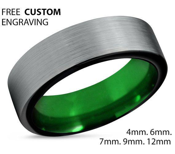 Tungsten Ring Mens Black Green Wedding Band Tungsten Ring Tungsten Carbide 7mm Tungsten Man Wedding Male Women Anniversary Matching Size