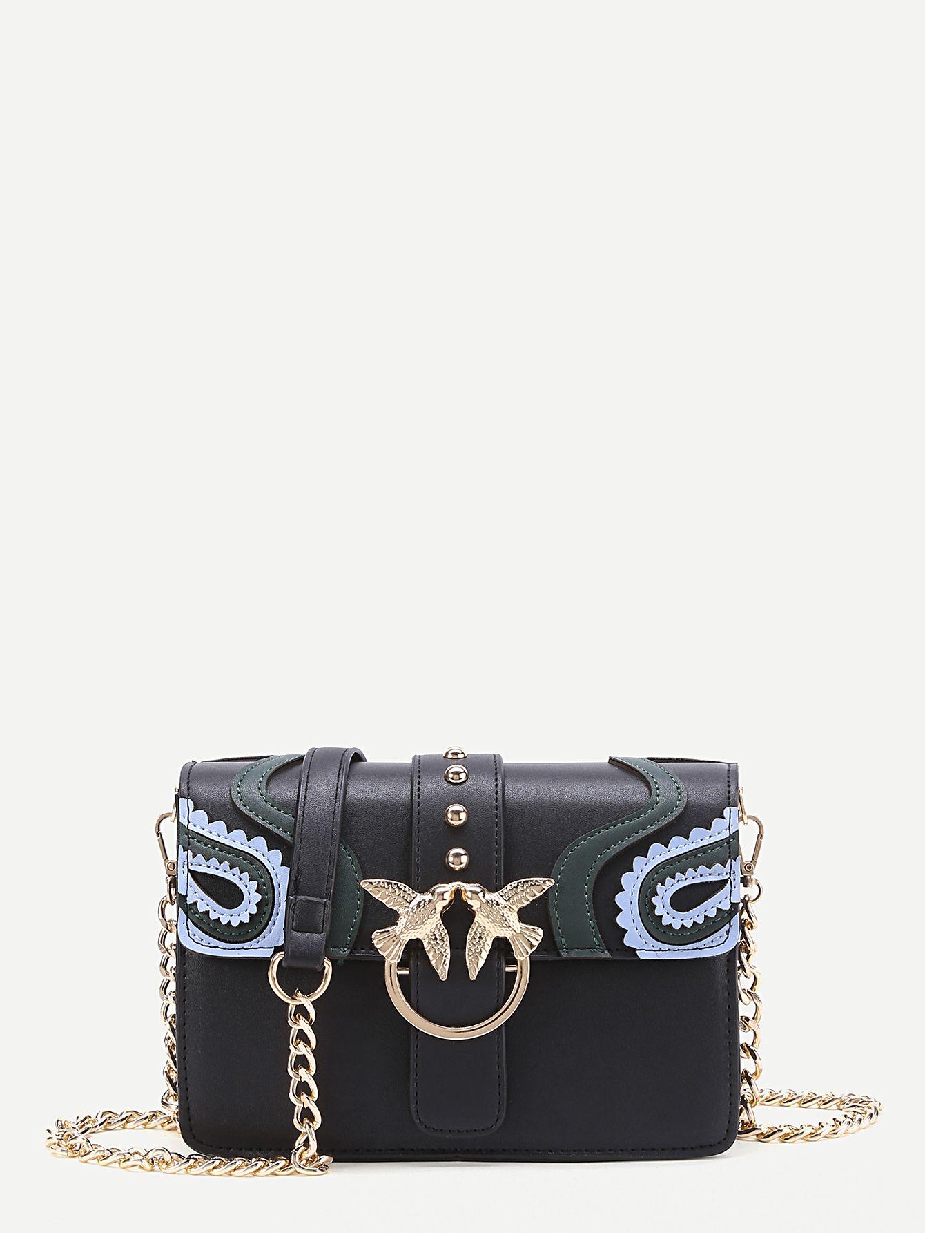 Shop Double Bird Buckle Scalloped Detail Crossbody Bag online. SheIn offers  Double Bird Buckle Scalloped Detail Crossbody Bag   more to fit your  fashionable ... feb3260a0a0a