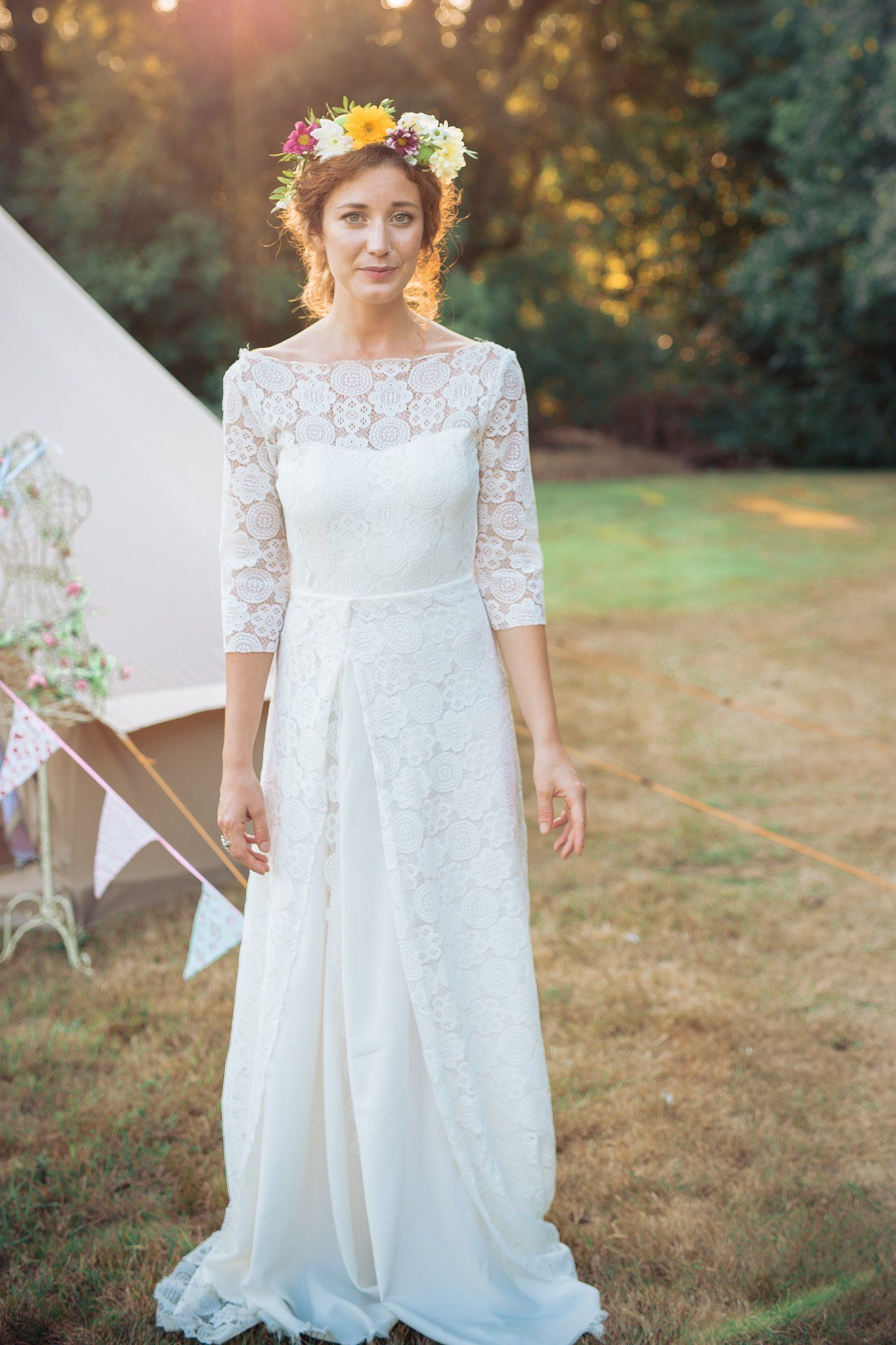 Boho lace wedding dress with sleeves by lucy canut dance low back