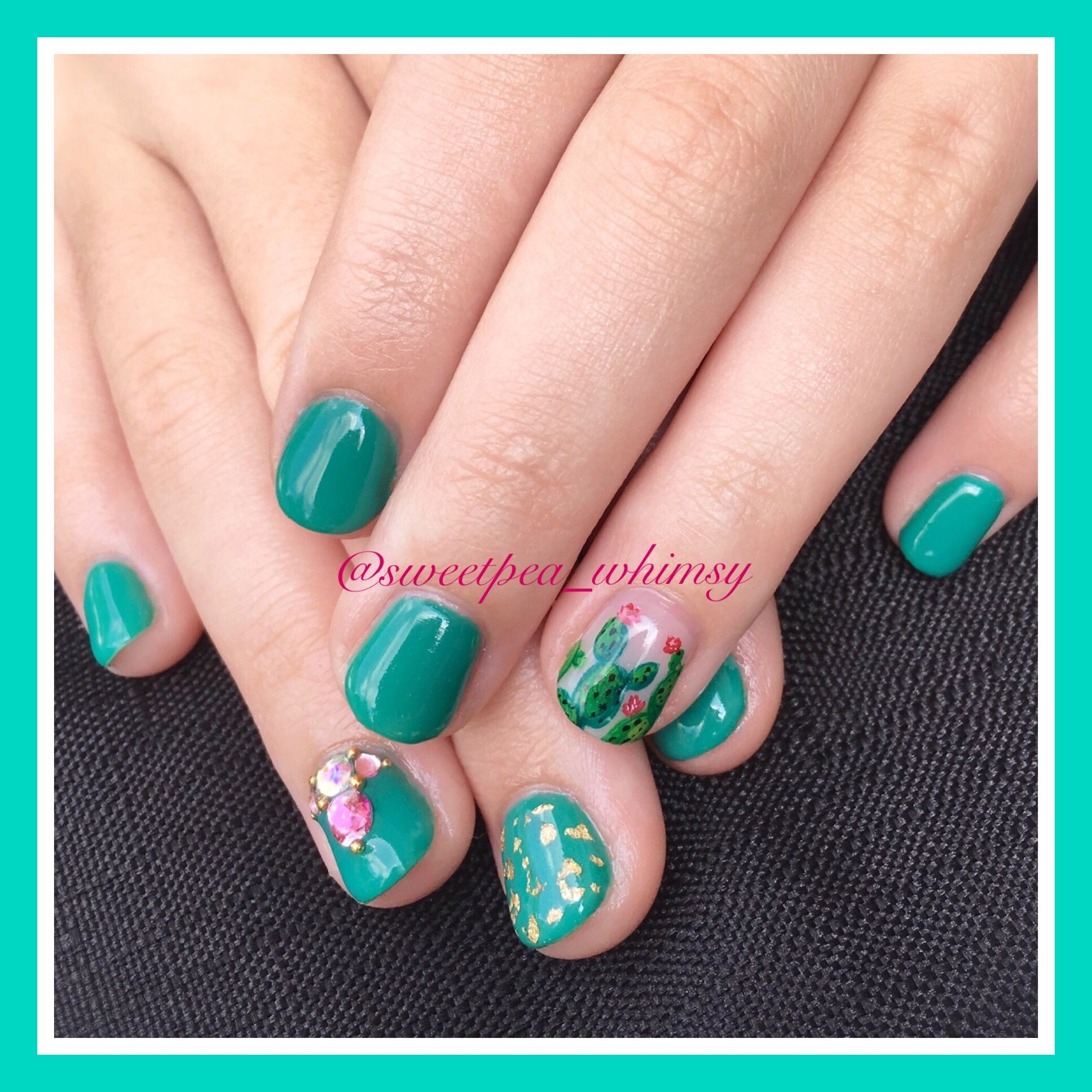 Green Cactus Kids Mani | Hand-painted design, pink flower, nail gems ...