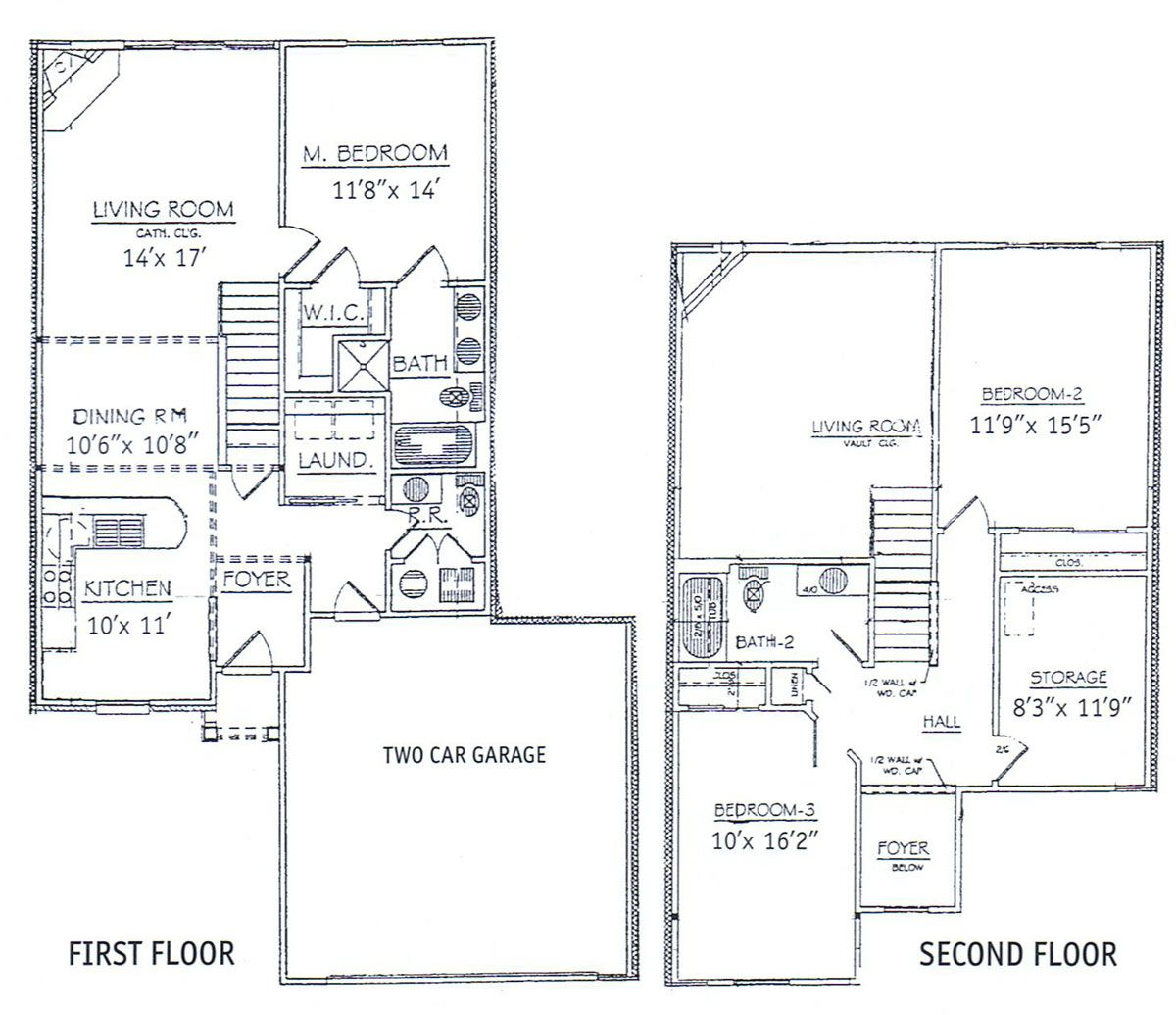 3 bedrooms floor plans 2 story bdrm basement the two three bedroom two story townhome Two story house plans