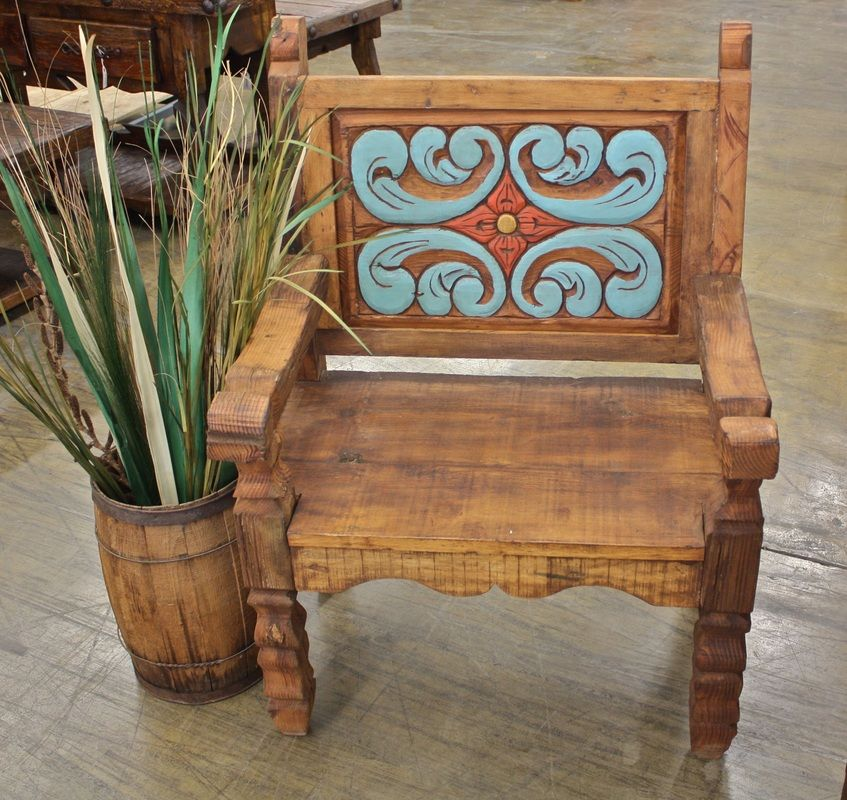 Western Decor Paint: Hand Painted Rustic Bench With Reclaimed Wood.