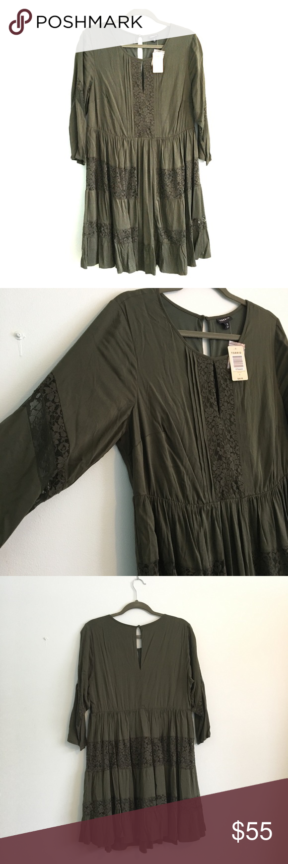 Olive green dress with lace plus size this dress is brand new tag