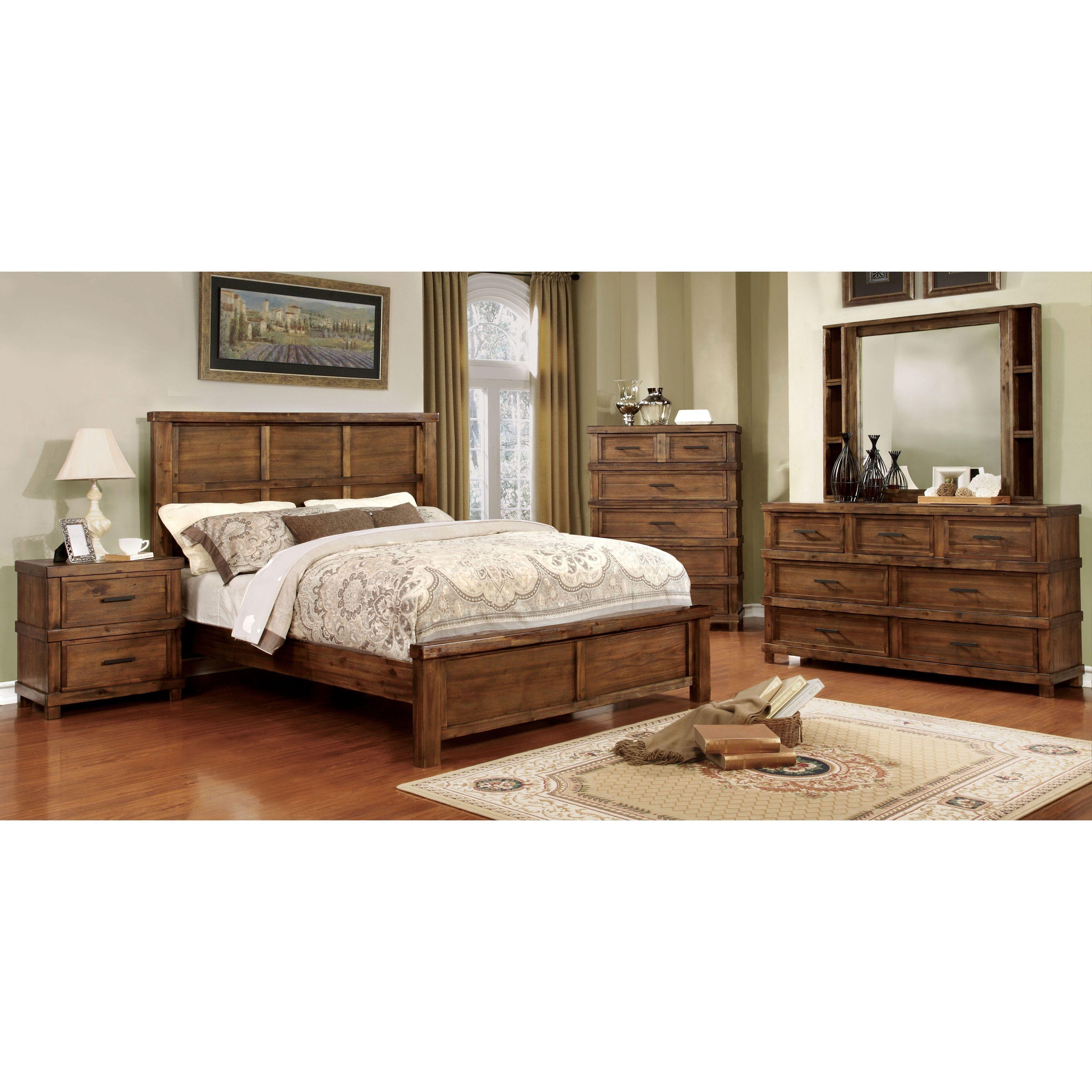 Furniture of America Stamson Rustic 4-piece Antique Oak Bedroom Set ...