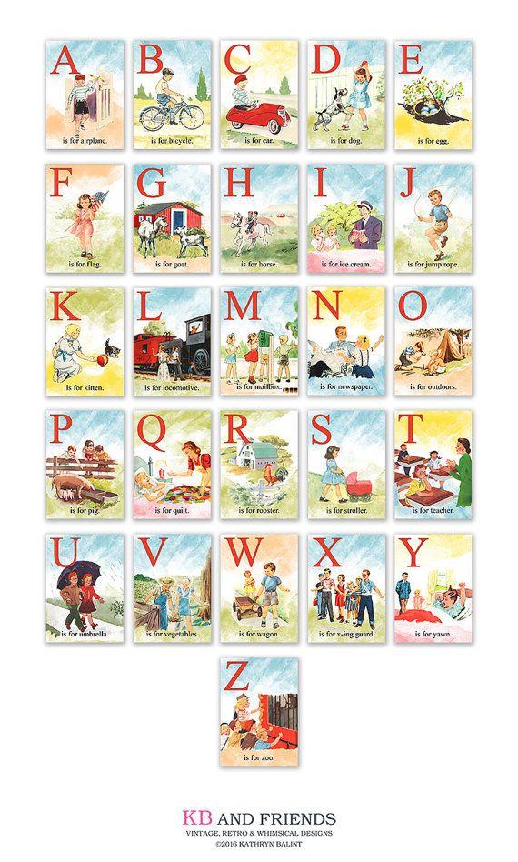 Printable Vintage Children Abc Flashcards 5 X 7 Digital