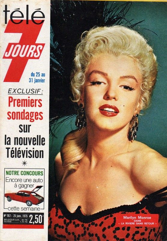 """Tele 7 Jours - January 1975, magazine from France. Front cover of Marilyn Monroe in a publicity photo for """"River of No Return"""", by Frank Powolny, 1954"""
