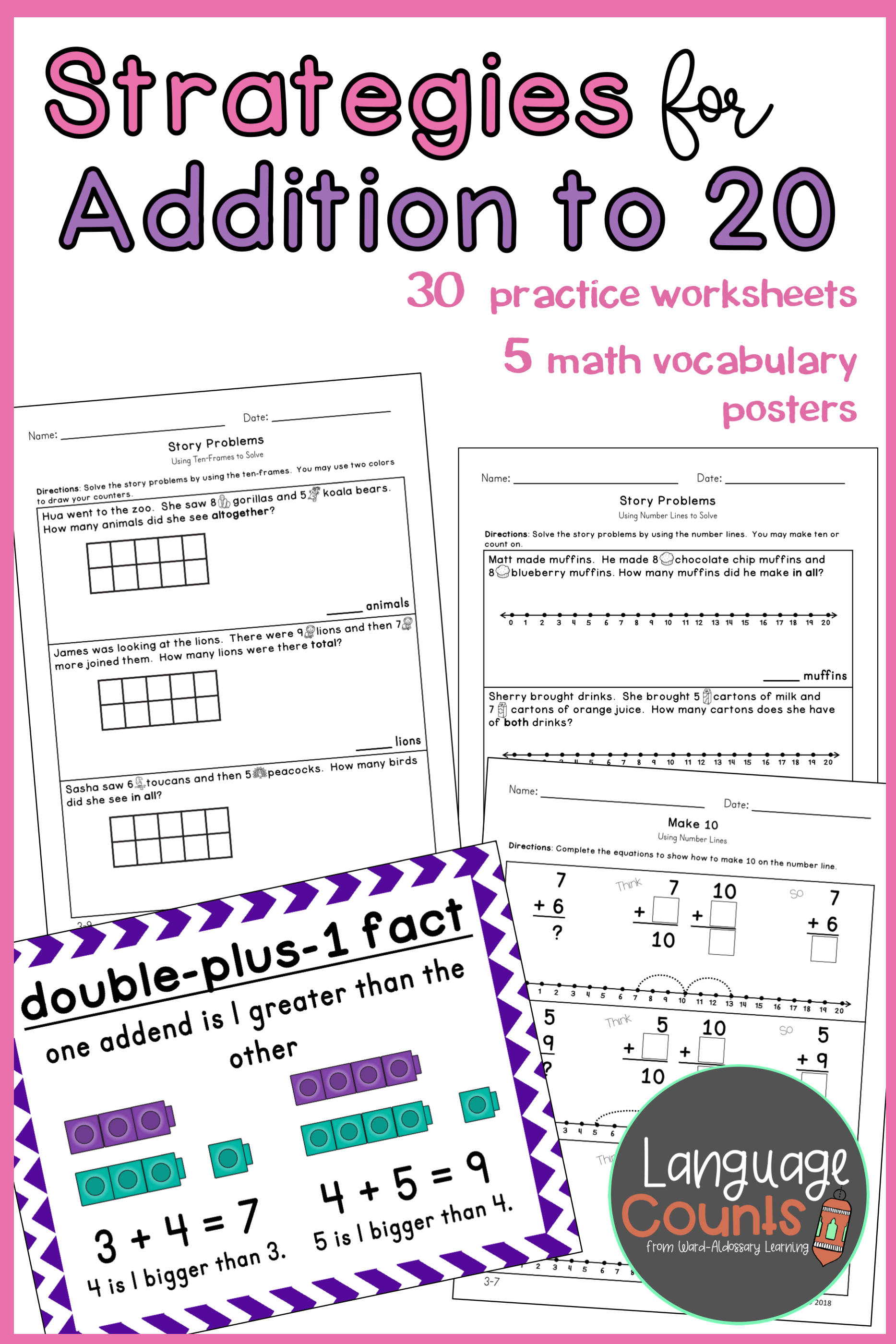Give Your Students Practice In Adding To 20 Using A Variety Of Strategies Such As Counting On Making Ten Math In Focus Elementary School Math Math Strategies [ 2800 x 1867 Pixel ]