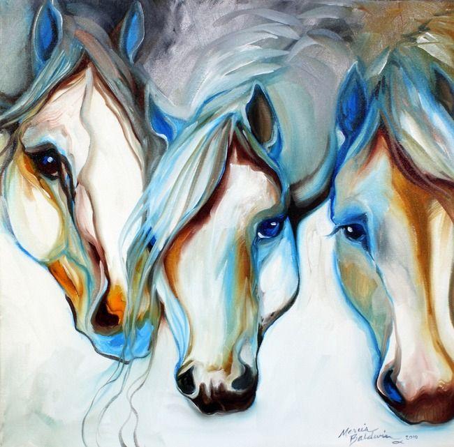 3 wild horses in abstract by marcia baldwin shreveport louisiana · framed printscanvas