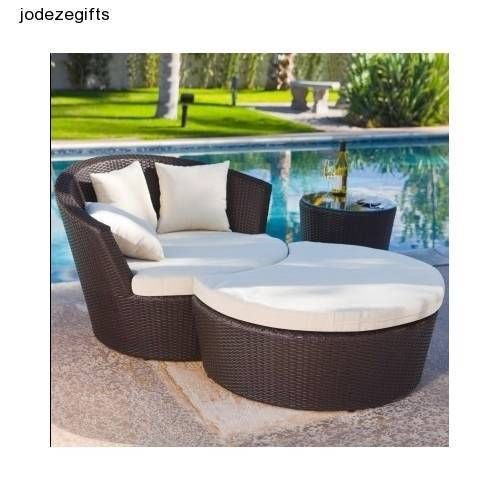 outdoor patio furniture wicker lounge chair with ottoman dark