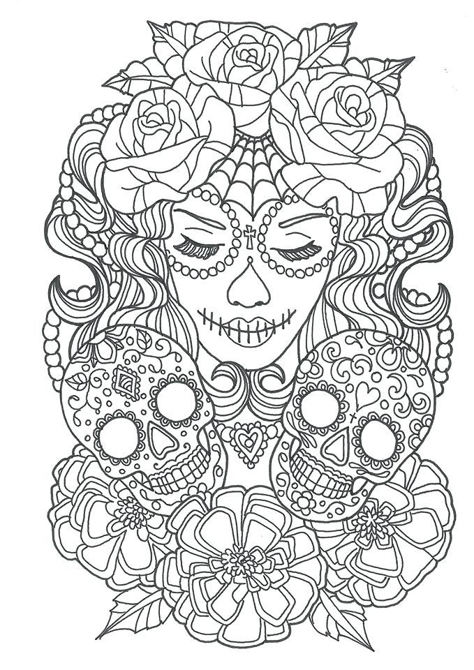 Sugar Skull Coloring Pages For Adults | Skull coloring ...