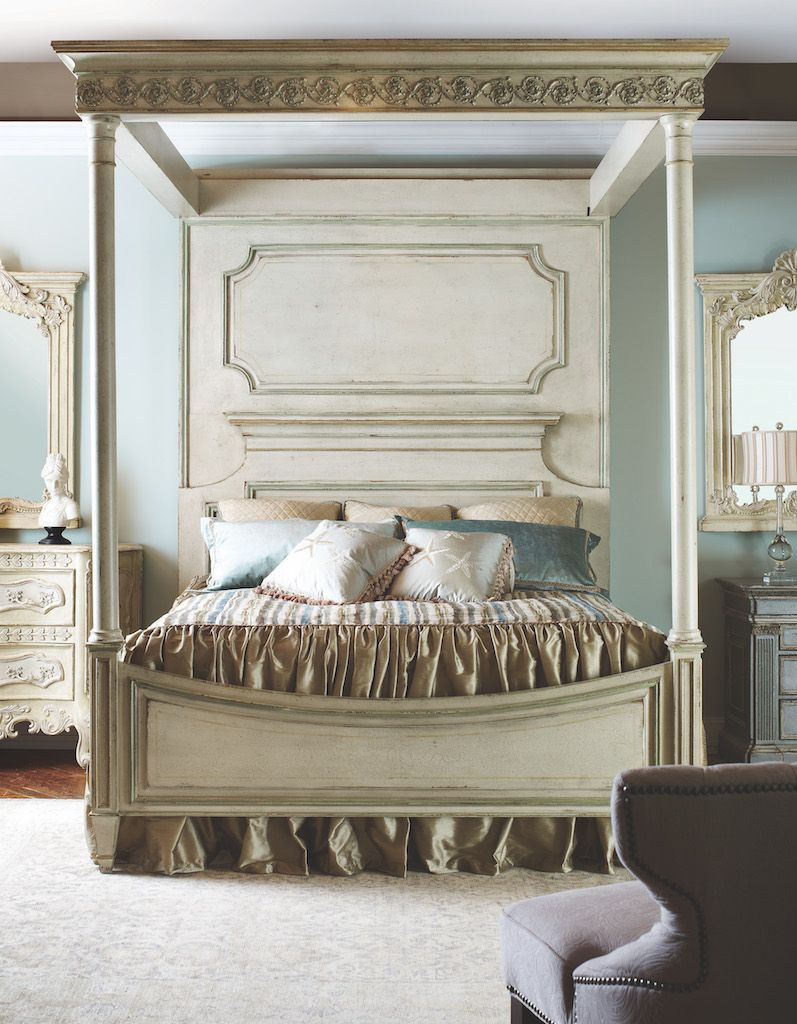 Sleep like a queen (or king) in this canopy bed inspired by neoclassical style elements.