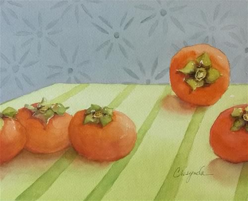 """Daily Paintworks - """"Fall Persimmons"""" - Original Fine Art for Sale - © Crisynda Buss"""