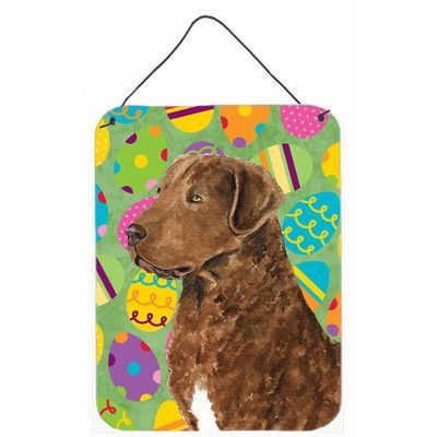 Caroline's Treasures Chesapeake Bay Retriever Easter Eggtravaganza Painting Print Plaque