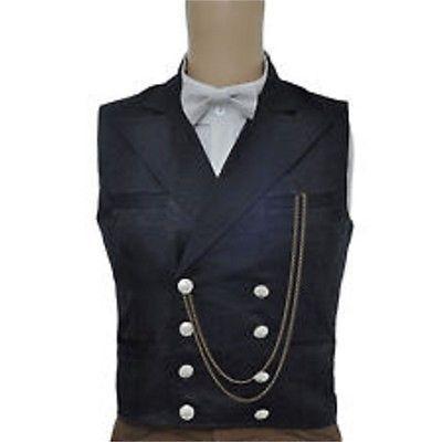 Victoriano Adulto Hombre Vestido Negro Steampunk Chaleco De Lujo Aviador WaZ8q8wS1x