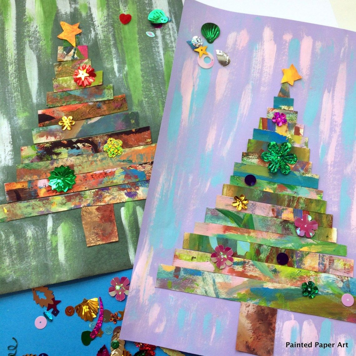 Mixed Paper Media Project Winter Art Projects Christmas Art Projects Christmas Art