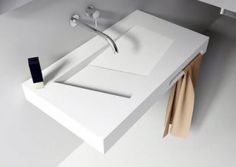 Riho lorient wastafel solid surface mat wit met kraangat cm