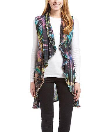 Look what I found on #zulily! Black & Purple Tie-Dye Ruffle-Trim Open Vest #zulilyfinds