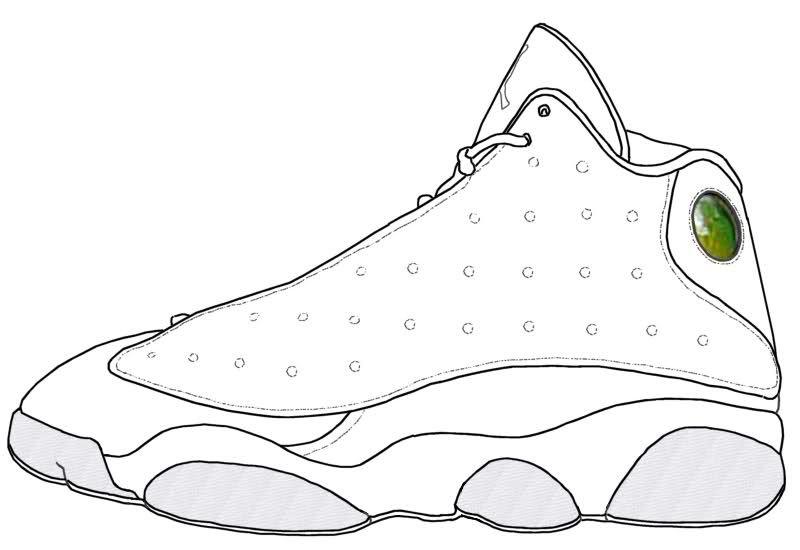 Jordan Retro 13 Coloring Page Sneakers Illustration Shoe Template Jordan Shoes