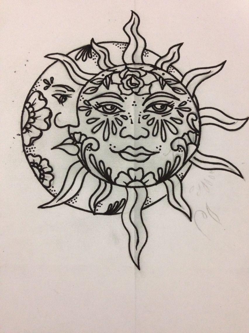 tattoo drawing sun moon design female artist Moon