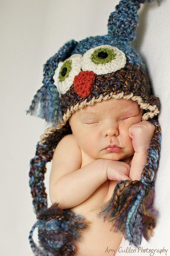 Baby hats baby owl hat two toned cute and soft ear flap baby hat