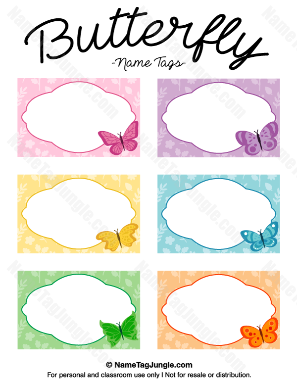 Free Printable Butterfly Name Tags The Template Can Also