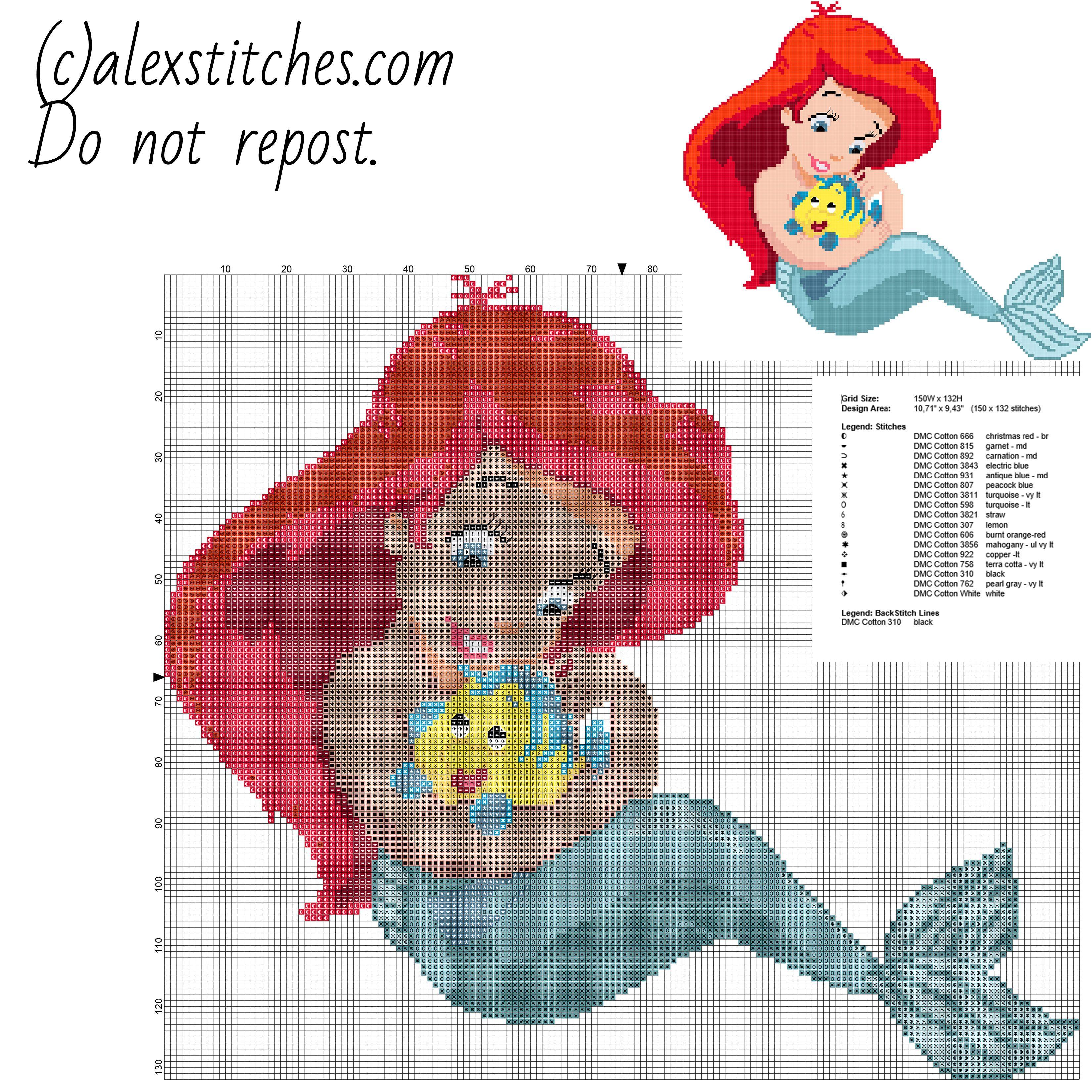 Disney baby princess ariel free cross stitch pattern