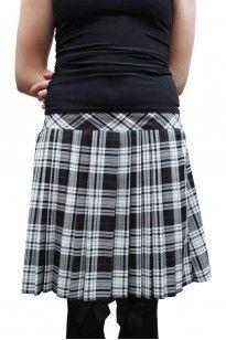 0903264fd 16 Inches Pleated Back Elastic Black White Tartan Skirt   Tartan ...