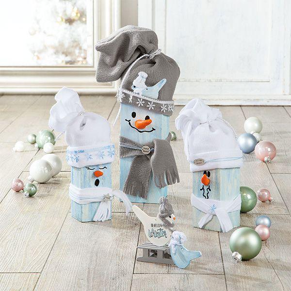 Bastelanleitung - Lustige Schneemänner aus Kantholz