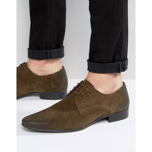 a1f57e52c6e ASOS Lace Up Shoes In Green Suede ( 48) ❤ liked on Polyvore featuring men s