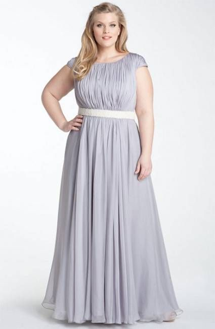45813bb8ca Party Dresses For Fat Girls 2016 Sliver Plus Size Bridesmaid Gowns Ruched  Capped Sleeved Chiffon Long Maxi Bridesmaids Dress