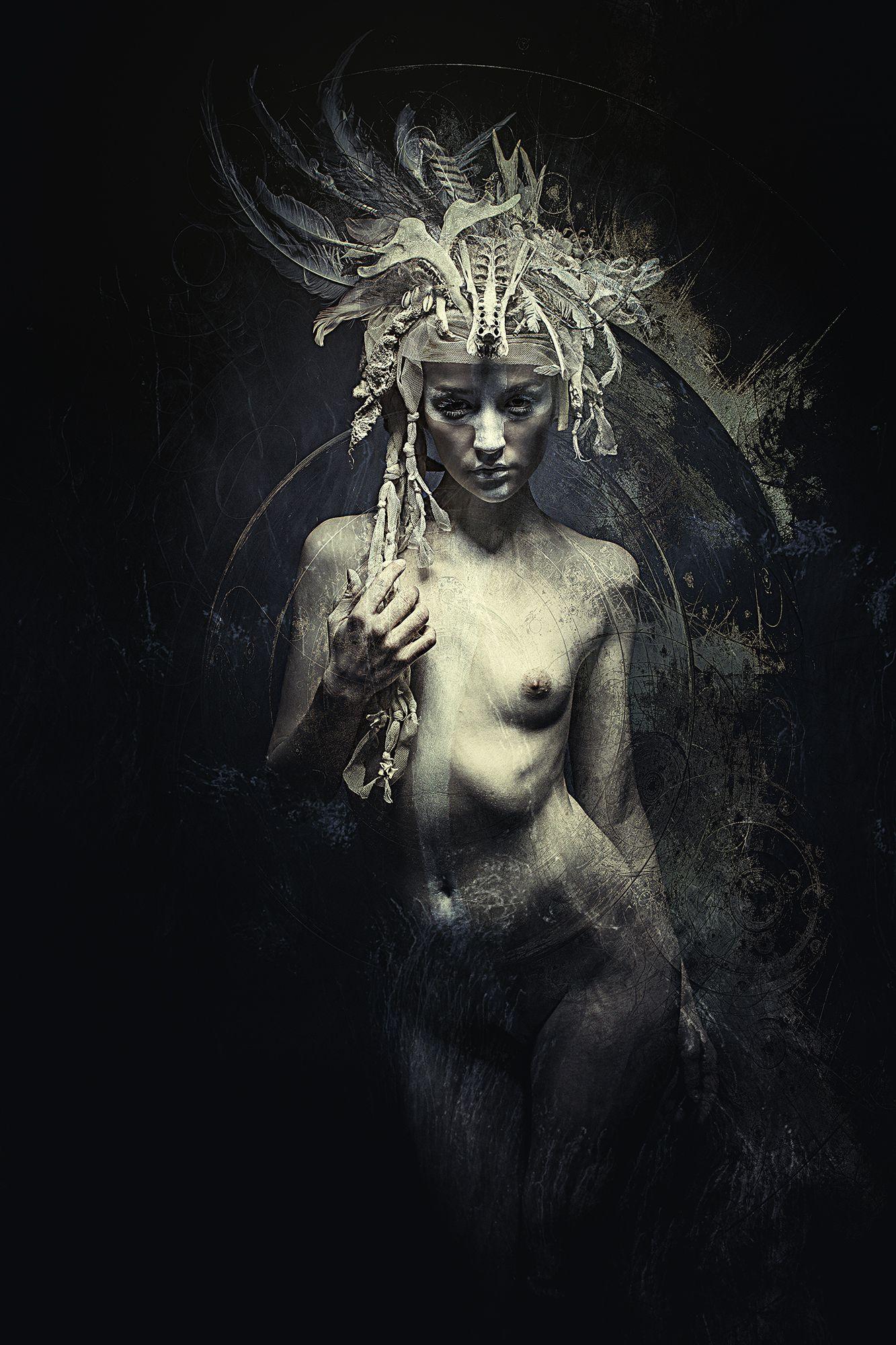 Very dark gothic nude art are