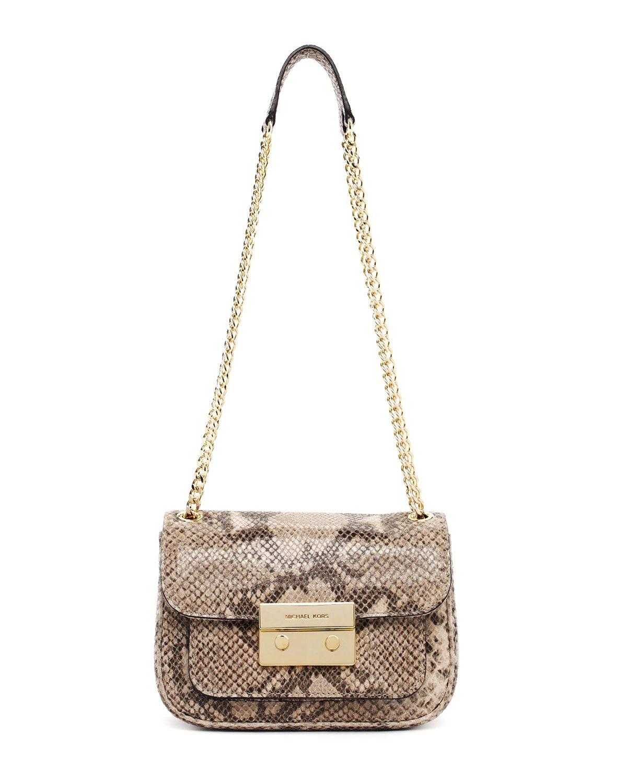 c65f05df5716 MICHAEL Michael Kors Sloan Small Python-Embossed Shoulder Bag ,Angora