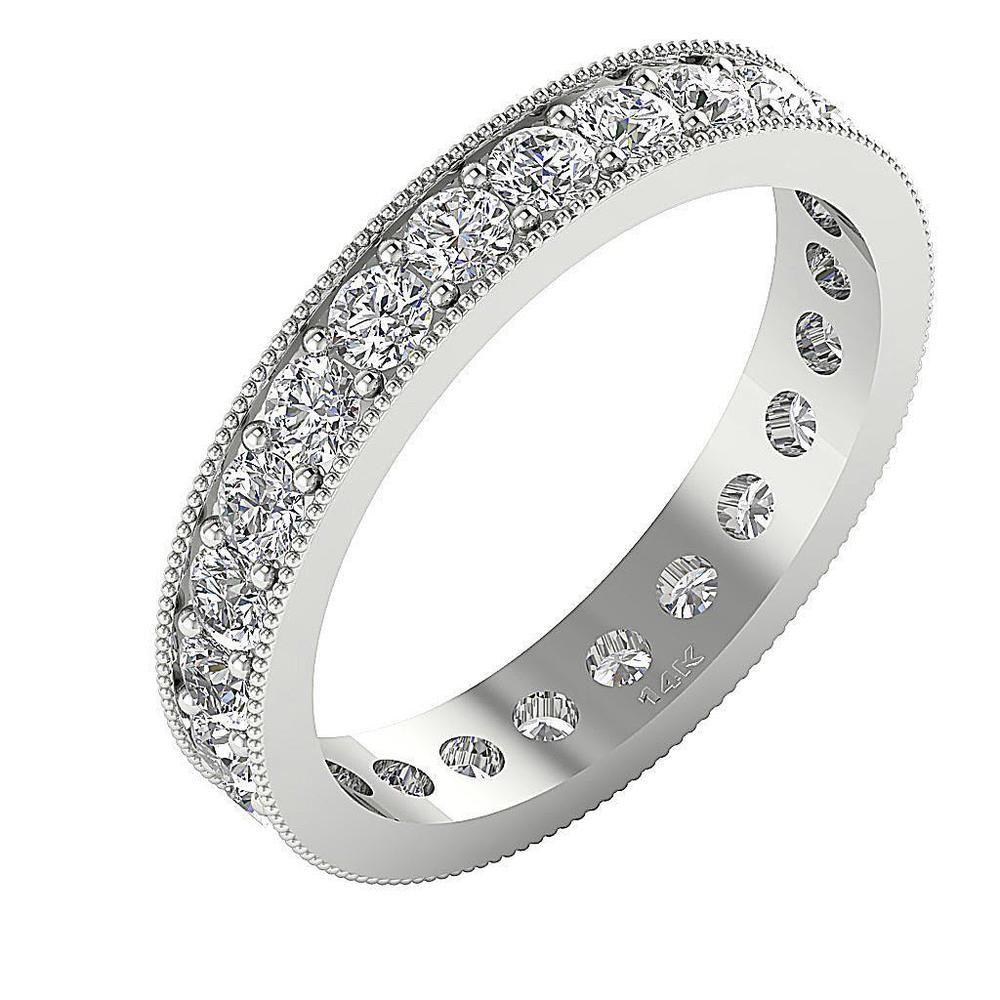 Milgrain eternity wedding ring si g ct round diamond white