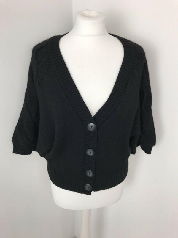 Next Made In Italy Black Cardigan 34 Sleeves Wool Alpaca