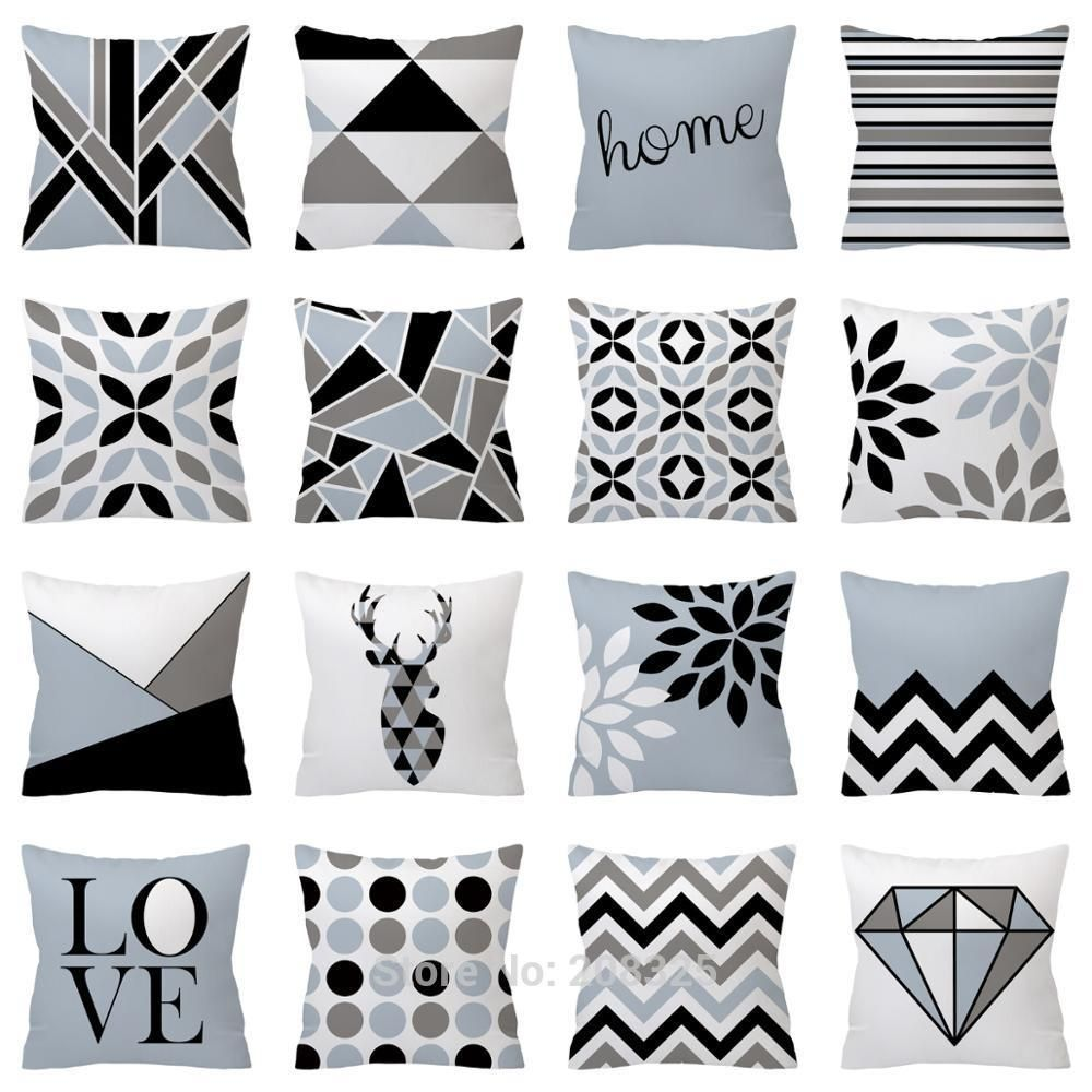 Nordic Cushion Cover Polyester Gray Blue Black White Geometric Decorative Throw Pillow Case Geometric Pillow Covers Decorative Throw Pillows Geometric Pillow