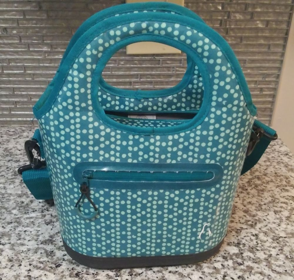072e7aaf6f61 Olivet Large Insulated Lunch Box Bag Cooler Blue Green Food Drinks ...