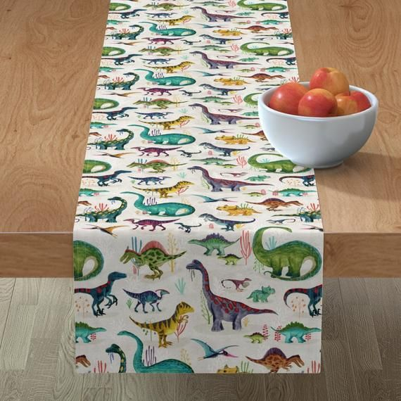 Dinos Table Runner - Dinosaurs Bright large by katherine_quinn - Jurassic  Prehistoric Animals Cotto #prehistoricanimals